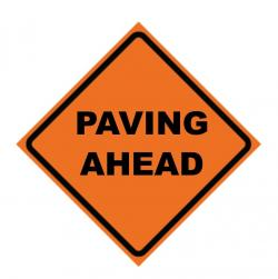 paving ahead sign